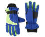 Youth Thinsulate Blue and Green Ski Gloves Overhead Shot Silo Image