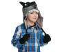 Youth Wolf Earflap Hat and Glove Silo On Model
