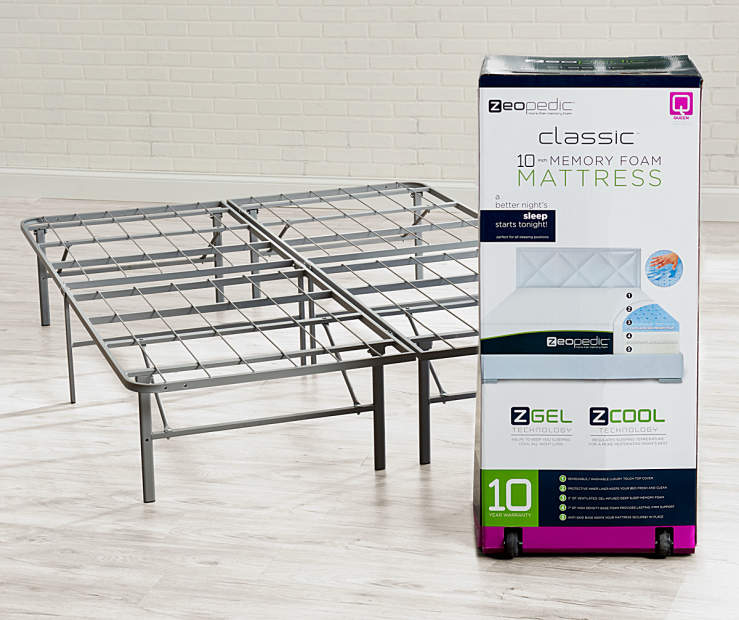 Zeopedic Classic 10 Queen Gel Infused Memory Foam Mattress In A Box Frame Collection Lots