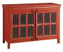 red accent chest with doors on white background