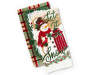 snowman and sled christmas kitchen towels 2 pack stacked and fanned overhead view silo image