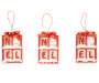 snowman noel red and white ornaments 3 pack out of package side by side overhead view silo image