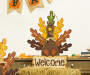 """23.62""H Burlap/Wooden Turkey Welcome Sign or Yard Stake"""