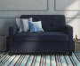 Devon Navy Blue Sleeper Chair and a Half lifestyle living room