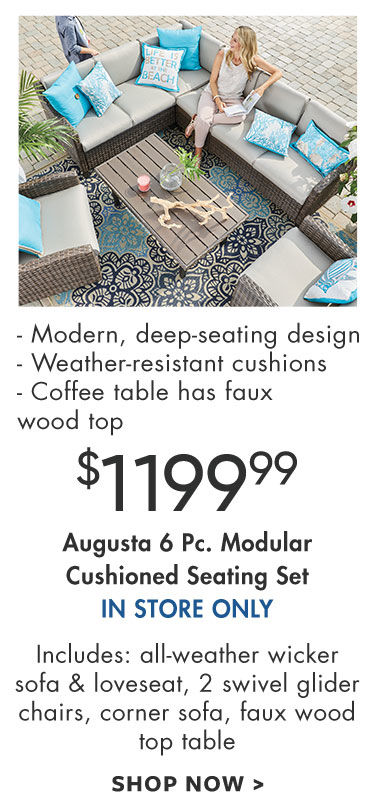 august collection six piece modular cushioned seating set