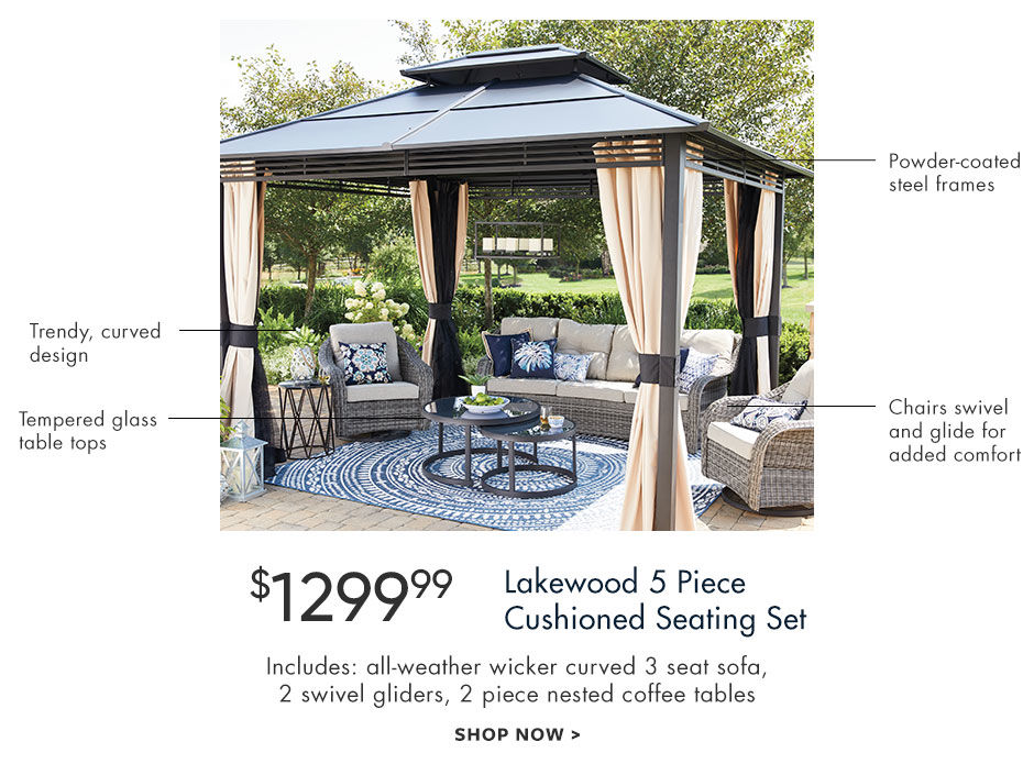 Lakewood five piece cushioned seating set