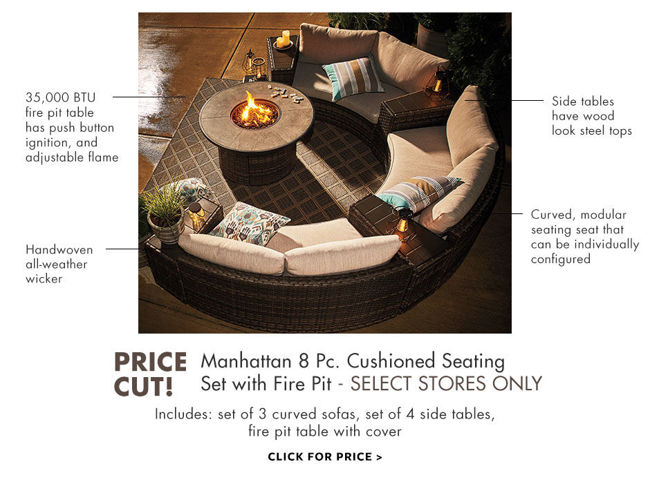 manhattan eight piece cushioned seating set with fire pit, available in select stores only