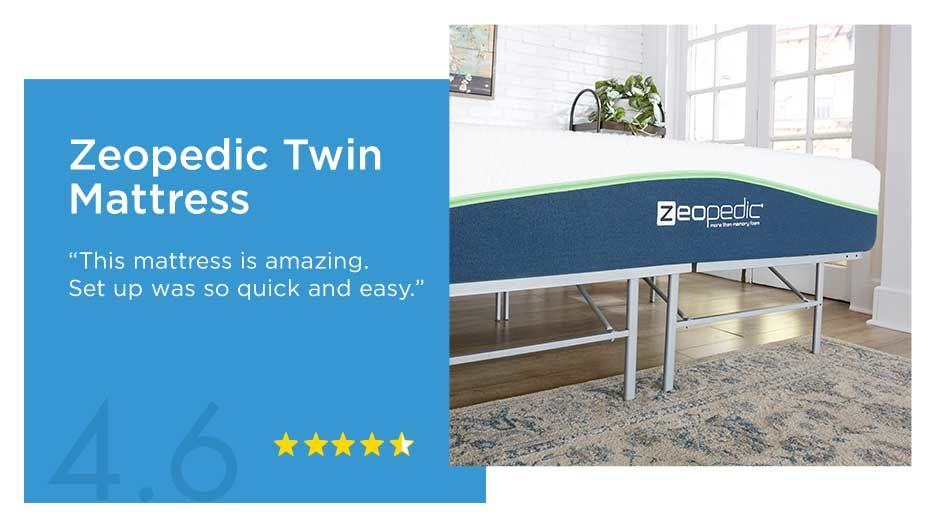 Zeopedic Twin Mattress 4.6 Star Reviews.
