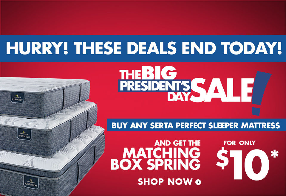 Ends Today! $10 Box Spring with and Serta Perfect Sleeper Mattress