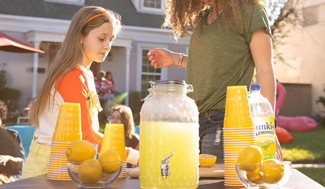 Set up a lemonade stand for your block party!