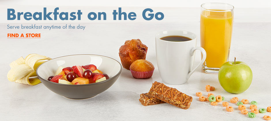 Breakfast on the Go. Find a store for breakfast food.