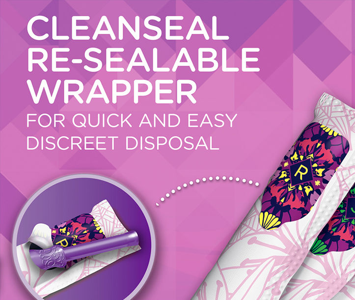 Tampax tampons with cleanseal re-sealable wrapper for quick and easy discreet disposal