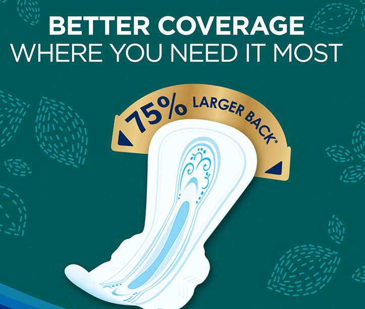 Always pads with a 75 percent larger back give you better coverage where you need it most