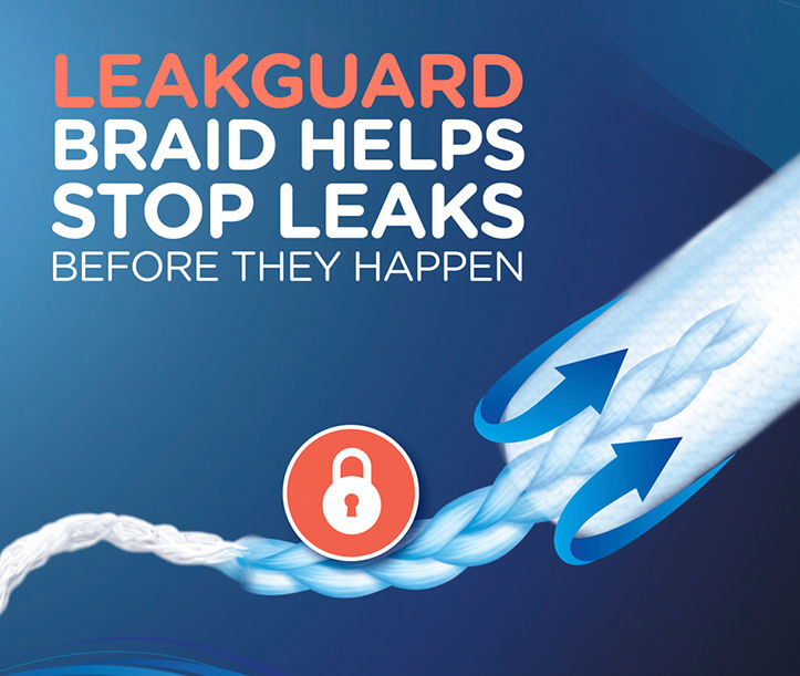 Tampax tampons with leakguard braid helps stop leaks before they happen