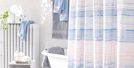Painted Shower Curtains and Bath Accessories