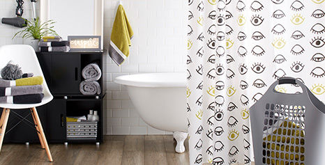 Yellow and Gray Bath Curtain and Bath Accessories