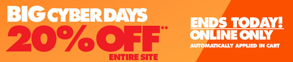 Ends Today Big Cyber Days. 20 Percent Off the Entire Site**. July 15 and July 16. Discount Automatically Applied in Cart.