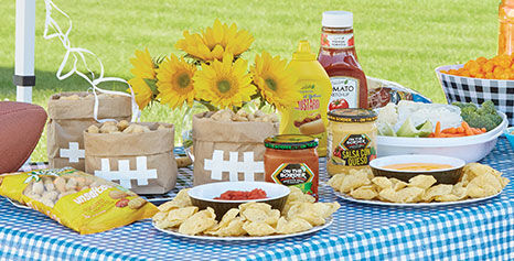 Tailgating foods: chips, salsa and queso