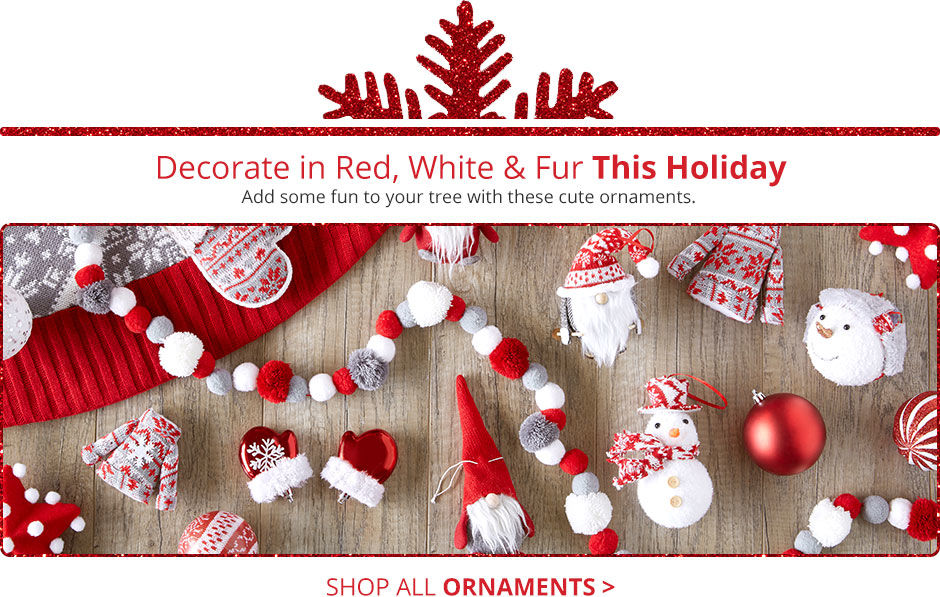 Decorate in red, white and fur! Add some fun to your tree with these cute ornaments.