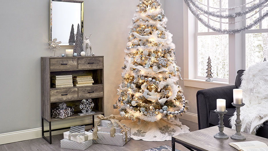 shimmer white and silver christmas decorations