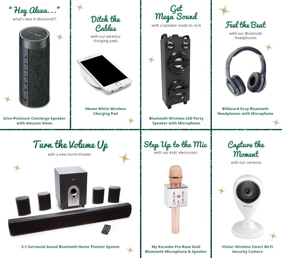 Amazon Alexa, Charging Pad, Wireless Speakers, Cameras, Theater System