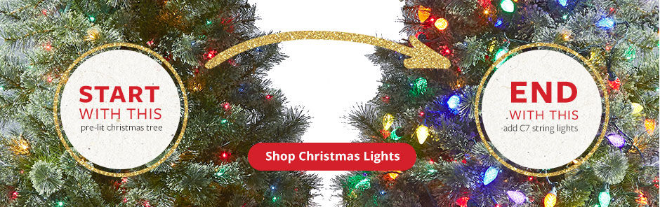 Add C7 String lights to your pre-lit tree for a magical holiday glow! Shop Christmas Lights