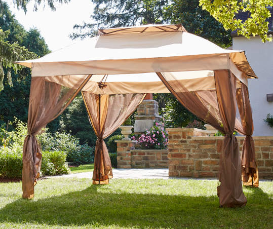 Fisher Tan Pop Up Canopy With Netting, Big Lots Outdoor Canopy Swing