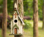 "11.81""H Distressed Solid Wood Church Birdhouse(KD)"