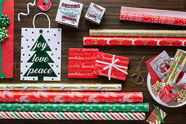 Find gift wrap, boxes, bags and bows in traditional christmas reds, greens and golds.