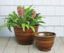 "12"" Dark Brown Zeus Brushed Plastic Planter"