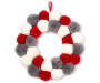 15 Inch Round Wreath with Red, Gray and White Pom Poms Overhead View Silo Image