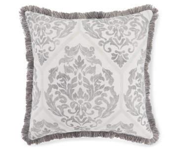 e9c794bfd828c3 Villanova Gray Damask Outdoor Throw Pillow with Fringe, (18