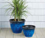 16in Blue Zeus Dura Glaze Planter lifestyle