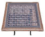 "18"" Square Glass Top Resin Wicker Folding Table Silo Top View"