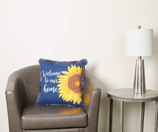 Welcome To Our Home Sunflower Outdoor Throw Pillow Big Lots