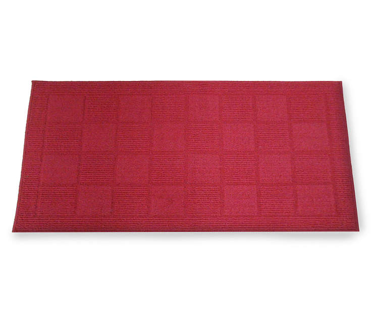 20 inch x 34 inch Red Bedford Barn Rug With Checkered Pattern