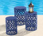 22in Navy Blue Metal Garden Table lifestyle