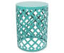 22in Turquoise Metal Garden Table silo front