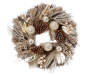 24 Inch Circle Wreath with Champagne Gold Glitter Pine Branches, Pinecones, Ornament Bulbs, Leaves and Berries on a Twig Background Overhead View Silo Image