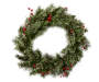 24 Inch Circle Wreath with Green Cashmere Pine Needle Branches and Red Berries Overhead View Silo Image