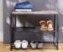 3 TIER METAL SHOE RACK W WOOD TOP