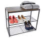 3 Tier Metal Shoe Rack silo angled with clothing prop