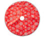 30 Inch diameter tree skirt with red background and silver glitter snowflake pattern overhead view silo image