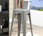 30 inch Gray Metal Low Back Barstool lifestyle