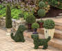 "35"" 2-Ball Topiary Plastic Box Planter Lifestyle Image Side View"