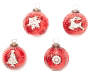 3IN RED VINTAGE GLASS ORNAMENTS W/BLING