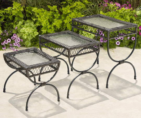 Black 3-Piece All Weather Wicker Nested End Table Set