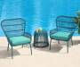 3PC TURQUOISE ALL WEATHER WICKER CHAT SET
