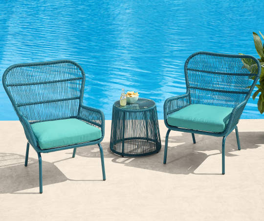 Deals on Turquoise All Weather Wicker 3-Piece Chat Set