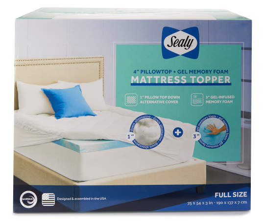 Sealy 4 Pillowtop Gel Memory Foam Queen Mattress Topper Big Lots